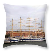 One Of Star Clipper's Masted Cruise Liners Docked In Venice Italy Throw Pillow