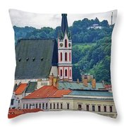One Of The Churches In Cesky Kumlov In The Czech Republic Throw Pillow