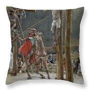 One Of The Soldiers With A Spear Pierced His Side Throw Pillow by Tissot
