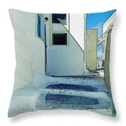 One Of The Streets Of Santorini Throw Pillow