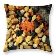 One Orange Leaf Throw Pillow