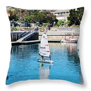 One-person Sailboats By The Commercial Pier In Monterey-california Throw Pillow