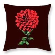 One Red Dahlia Throw Pillow
