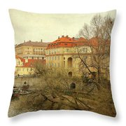 One Side On A River Throw Pillow
