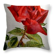 One Single Red Rose Throw Pillow