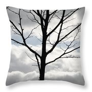 One Winter Tree With Clouds Throw Pillow