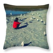One With The Gulls Throw Pillow