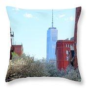 One World Trade Center In Spring Throw Pillow