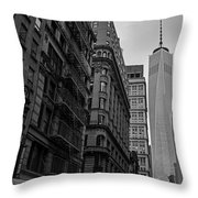 One World Trade Center New York Ny From Nassau Street Black And White Throw Pillow
