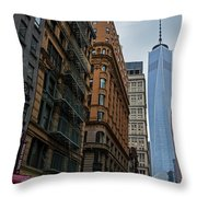 One World Trade Center New York Ny From Nassau Street Throw Pillow