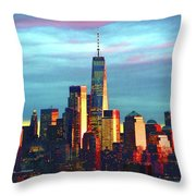 One World Trade Sunset Spectacle Throw Pillow
