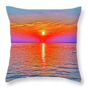 Oneida Lake Sunset Art Throw Pillow