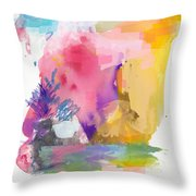 Oniric Landscape Reflections With Sun And Bird Throw Pillow