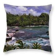 Onomea Bay Hawaii Throw Pillow