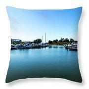Ontario Beach Park Marina Throw Pillow by William Norton