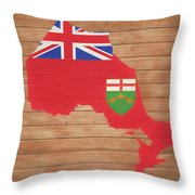 Ontario Rustic Map On Wood Throw Pillow
