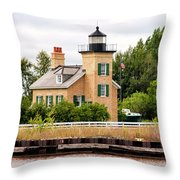 Ontonagon Lighthouse Throw Pillow