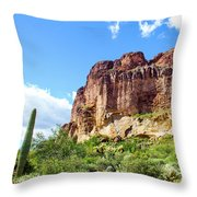 Onward And Upward At The Superstition Mountains Of Arizona Throw Pillow