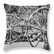 Oo Wagon Wheels Black And White Throw Pillow