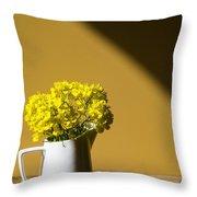 Good Morning Sunshine- Rapeseed Flowers And White Mug   Throw Pillow