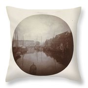 Oostersingel With Aangemeerde Ships In Leeuwarden, Anonymous, 1897 Throw Pillow