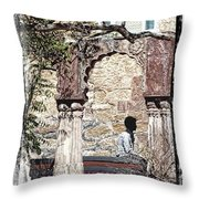 Open Air Bed Among The Arches India Rajasthan 1c Throw Pillow