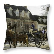 Open Carriage Ride In Colonial Williamsburg Virginia Throw Pillow