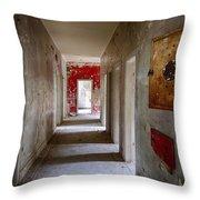 Open Doors - Abandoned Building Throw Pillow