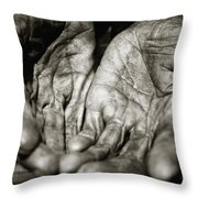 Two Old Hands Throw Pillow