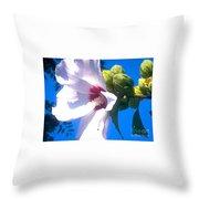 Open Hibiscus Flower With Deep Blue Sky Throw Pillow