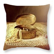 Open Jewelry Box With Pearls Throw Pillow