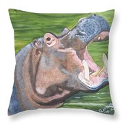 Open Mouthed Hippo On Wood Throw Pillow