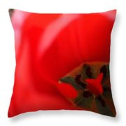 Open Red Tulip Throw Pillow