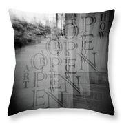 Open Sign Quadruple Multiple Exposure Holga Photography Throw Pillow