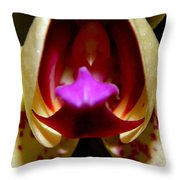 Open Wide - Orchid Macro Throw Pillow