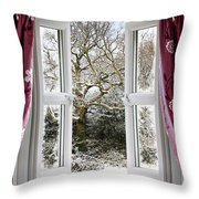 Open Window With Winter Scene Throw Pillow