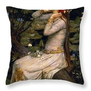 Ophelia Throw Pillow by John William Waterhouse