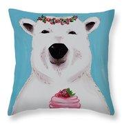 Ophelia The Polar Bear  Throw Pillow