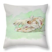 Opossum Skull Throw Pillow