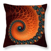 Orange And Aqua Spiral Throw Pillow