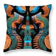 Orange And Blue Abstract 1 Throw Pillow