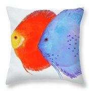 Orange And Blue Discus Fish Throw Pillow