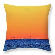 Orange And Blue Morning 2  Throw Pillow