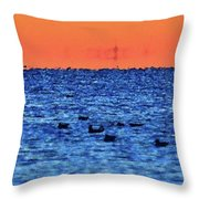 Orange And Blue Morning 4  Throw Pillow