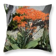 Orange And Pink Exotic Bell Flowers Throw Pillow
