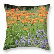 Orange And Purple Dream Flowers Throw Pillow