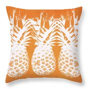 Orange And White Pineapples- Art By Linda Woods Throw Pillow by Linda Woods