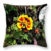Orange And Yellow Flower Throw Pillow