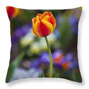 Orange And Yellow Tulip Throw Pillow