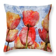 Orange And Yellow Tullips With Blue Sky Throw Pillow